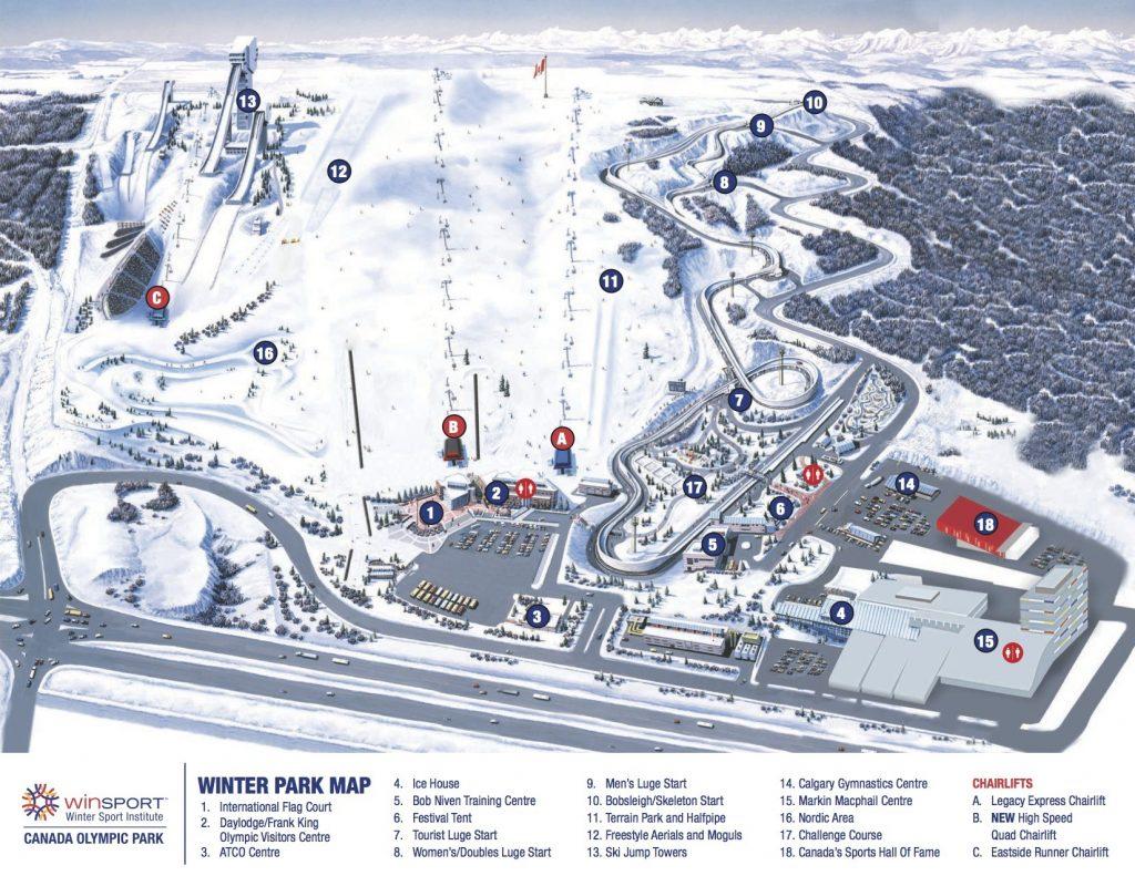Map of Canada Olympic Park in Calgary, Alberta