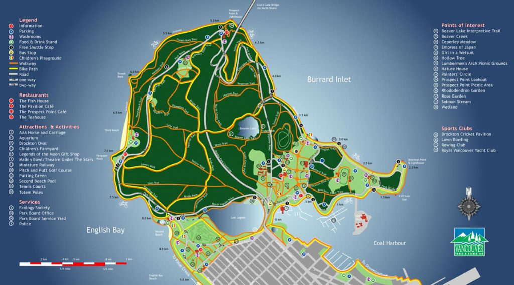 Map of Stanley Park in Vancouver, BC